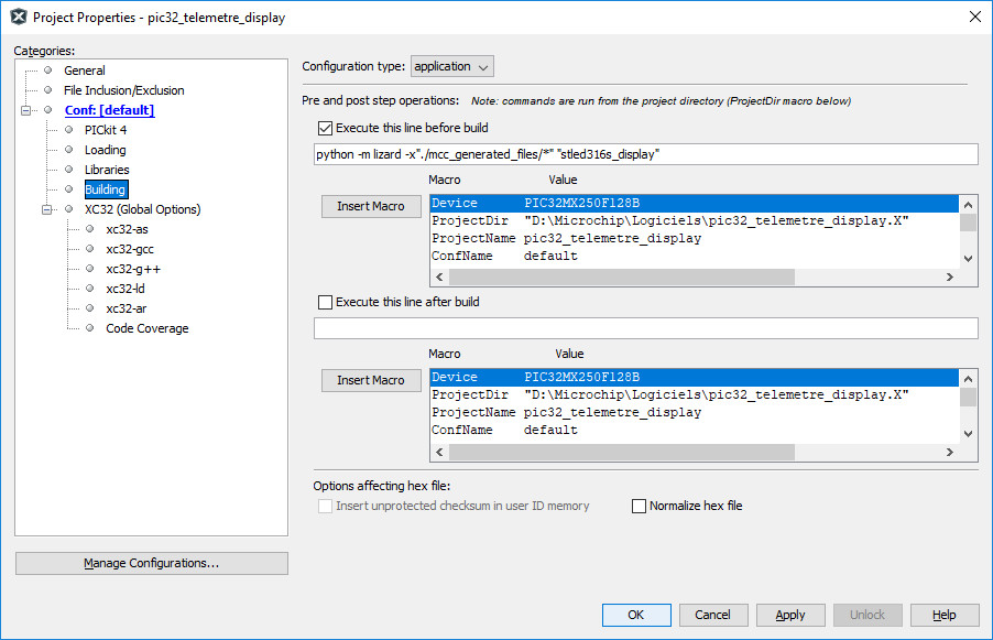 MPLAB project configuration for Lizard tool