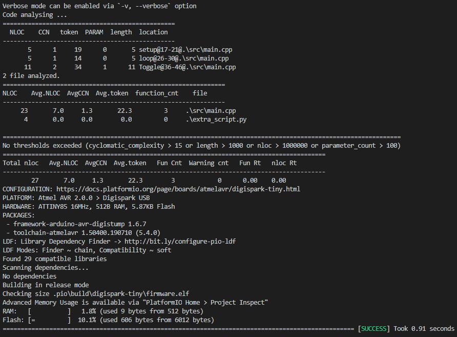 PlatformIO analysis result of the Lizard tool