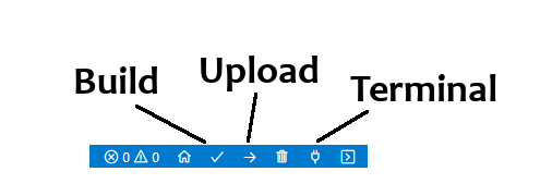 VSCode and PlatformIO : Icons for Compilation, Upload and Terminal