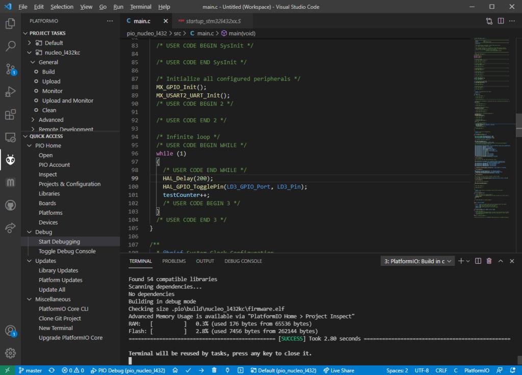 PlatformIO debugger start