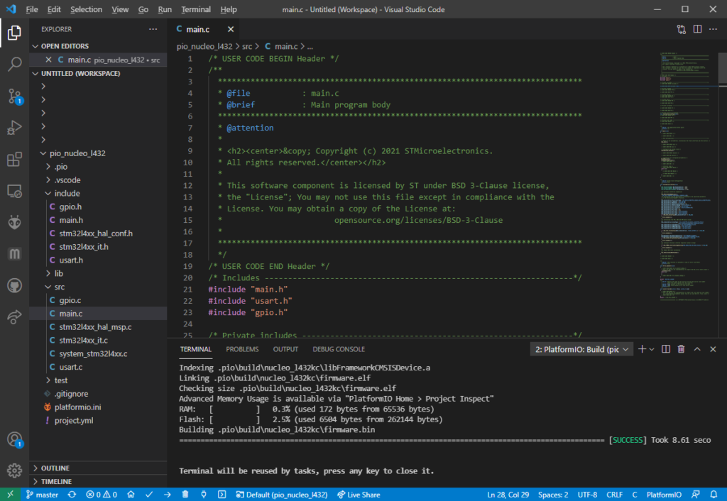 Compiling the PlatformIO project